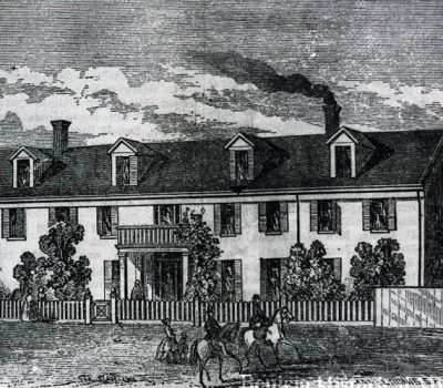 Young Ladies Seminary, known as Mills College located on East I St. as it appeared in the 1850's.