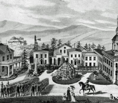 St. Augustine's school as it looked in the 1870's.  The school was originally Blake's School for Boys, then Benicia Collegiate Institiute before St. Augustine's relocated to the site in 1868.