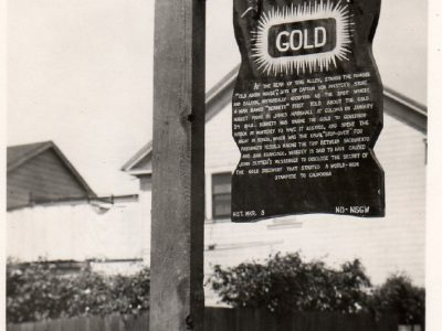 Discovery of Gold sign at the site of the Von Pfister store