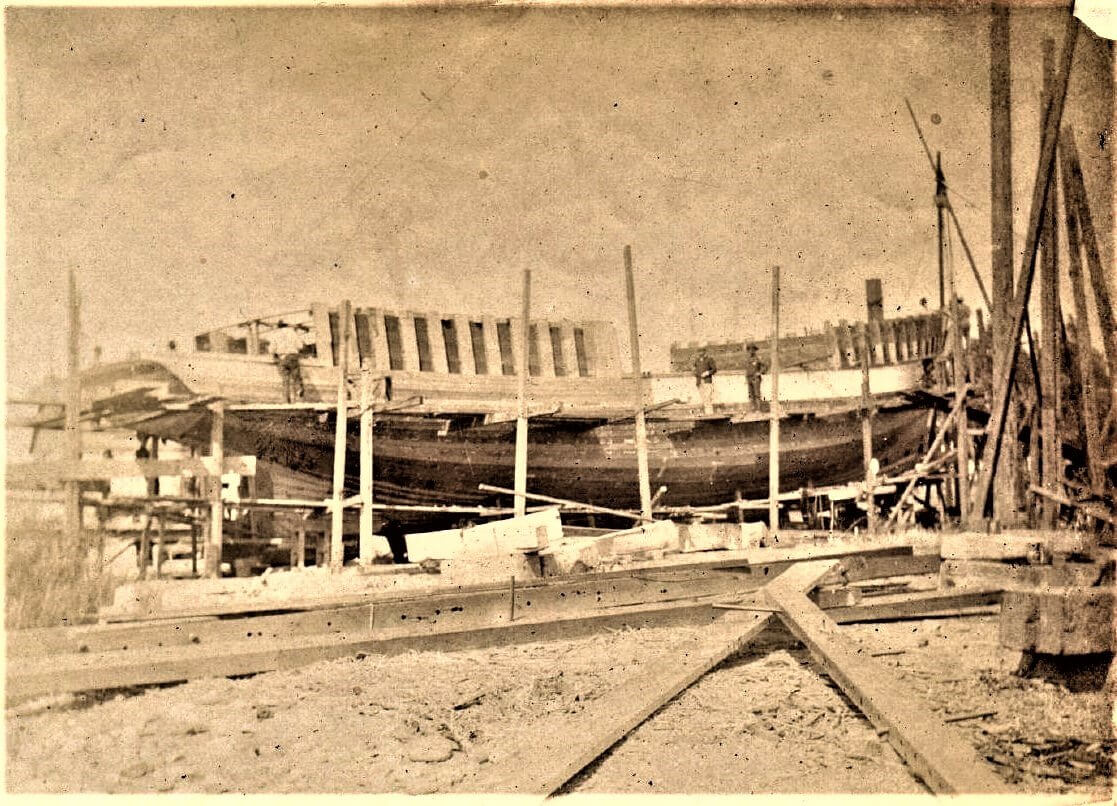 Photograph of a ship under construction at the Benicia yard, date unknown
